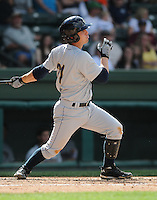 Catcher J.R Murphy (21) of the Charleston RiverDogs, Class A affiliate of the New York Yankees, in a game against the Greenville Drive on May 15, 2011, at Fluor Field at the West End in Greenville, S.C. Photo by Tom Priddy / Four Seam Images