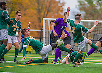 19 October 2013: University of Vermont Catamount Defenseman Salvatore Borea, a Senior from New Canaan, CT, in action against the University at Albany Great Danes at Virtue Field in Burlington, Vermont. The Catamounts defeated the visiting Danes 2-1. Mandatory Credit: Ed Wolfstein Photo *** RAW (NEF) Image File Available ***