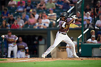 Rochester Red Wings second baseman Nick Gordon (1) at bat during a game against the Lehigh Valley IronPigs on June 29, 2018 at Frontier Field in Rochester, New York.  Lehigh Valley defeated Rochester 2-1.  (Mike Janes/Four Seam Images)