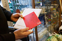 Pictured: A Christmas card received for Athur at Hafod Hardware store in Rhayader, mid Wales, UK. Thursday 05 December 2019.<br /> Re: Shop owner Thomas Lewis Jones has made a Christmas advert starring Arthur Lewis Jones, his two-year-old son costing only £100.<br /> Hafod Hardware in Rhayader, Powys, has been making festive adverts for several years.<br /> This year's advert sees Arthur setting up the shop along with members of his family.