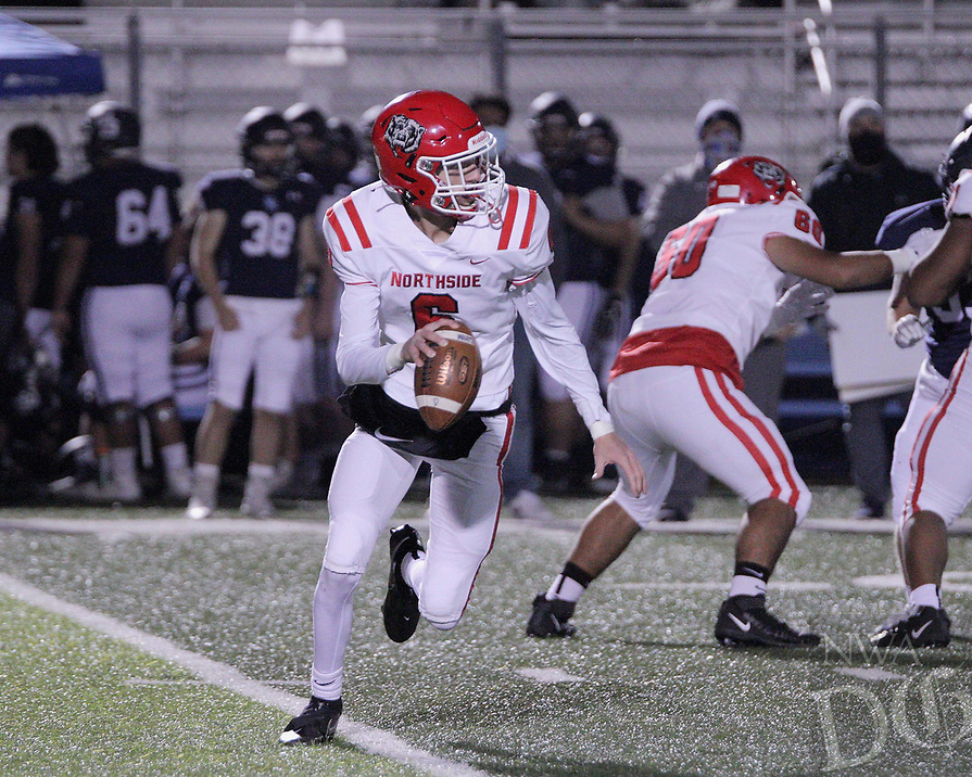 Fort Smith Northside Grizzlies Junior quarterback Walker Catsavis (6) scrambles during the first round play-off game against the Har-Ber Wildcats Friday, November 13, 2020, at Wildcat Stadium, Springdale, Arkansas (Special to NWA Democrat-Gazette/Brent Soule)