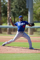 Los Angeles Dodgers pitcher Jeremiah Muhammad (47) delivers a pitch to the plate during an Instructional League game against the Chicago White Sox on September 30, 2017 at Camelback Ranch in Glendale, Arizona. (Zachary Lucy/Four Seam Images)