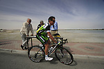 GreenEdge Cycling Team rider Robbie McEwen (AUS) signs on before the start of Stage 4 of the 2012 Tour of Qatar from Al Thakhira to Madinat Al Shamal, Qatar. 8th February 2012.<br /> (Photo Eoin Clarke/Newsfile)