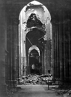 Ruins of the Cathedral of St. Quentin, France, October 18, 1918. Pfc. William B. Gunshor. (Army)<br /> NARA FILE #:  111-SC-31945<br /> WAR & CONFLICT BOOK #:  700