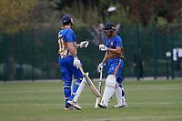 James Evans (L) and Kiran Kullar of Upminster during Upminster CC (batting) vs Ilford CC, Hamro Foundation Essex League Cricket at Upminster Park on 8th May 2021