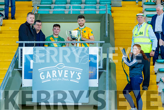 Maurice O'Connor, Kilmoyley Man of the match and John B. O'Halloran Captain, Kilmoyley lifts the Neilus Flynn cup after the Kerry County Senior Hurling Championship Final match between Kilmoyley and Causeway at Austin Stack Park in Tralee