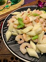 Nanjing, Jiangsu, China.  Shrimp and Vegetables.