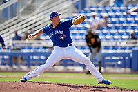 Toronto Blue Jays pitcher Nate Pearson (24) during a Major League Spring Training game against the Pittsburgh Pirates on March 1, 2021 at TD Ballpark in Dunedin, Florida.  (Mike Janes/Four Seam Images)
