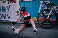 Mohamed Rayes of Syria was the first rider to start, but not the first to finish... as he crashed along the way and needed some medical attention afterward.<br /> <br /> MEN JUNIOR INDIVIDUAL TIME TRIAL<br /> Hall-Wattens to Innsbruck: 27.8 km<br /> <br /> UCI 2018 Road World Championships<br /> Innsbruck - Tirol / Austria