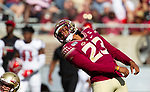 Florida State place kicker Ricky Aguayo (23) watches a 51 yard field goal attempt sail wide left in the 1st half of an NCAA college football game against Louisville in Tallahassee, Fla., Saturday, Sept. 21, 2019.