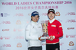 The winning team, Jung Min Lee of South Korea (right), and Jin Young Ko of South Korea (left) poses with the trophy during the Prize giving ceremony of the World Ladies Championship 2016 on 13 March 2016 at Mission Hills Olazabal Golf Course in Dongguan, China. Photo by Victor Fraile / Power Sport Images