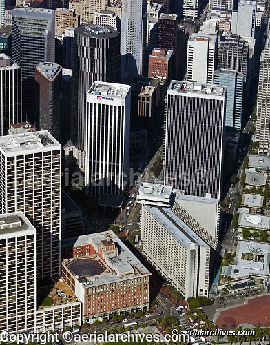 aerial photograph Market Street San Francisco California Hyatt hotel and One Rincon Plaza
