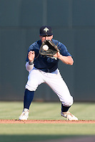 Second baseman Chandler Avant (5) of the Columbia Fireflies plays defense in a game against the Augusta GreenJackets on Saturday, June 1, 2019, at Segra Park in Columbia, South Carolina. Columbia won, 3-2. (Tom Priddy/Four Seam Images)