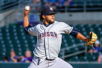 Colorado Springs Sky Sox pitcher Angel Ventura (38) delivers a pitch during game one of a Pacific Coast League doubleheader against the Iowa Cubs on August 17, 2017 at Principal Park in Des Moines, Iowa. Iowa defeated Colorado Springs 1-0. (Brad Krause/Four Seam Images)