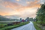 Sunrise at the Battenkill Farm in Arlington, Vermont, USA