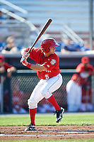 Auburn Doubledays shortstop Angelo La Bruna (5) at bat during a game against the Mahoning Valley Scrappers on June 19, 2016 at Falcon Park in Auburn, New York.  Mahoning Valley defeated Auburn 14-3.  (Mike Janes/Four Seam Images)