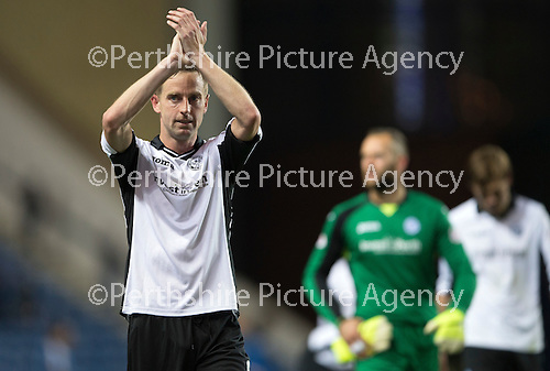 Rangers v St Johnstone...22.09.15  Scottish League Cup Round 3, Ibrox Stadium<br /> Steven MacLean applauds the fans at full time<br /> Picture by Graeme Hart.<br /> Copyright Perthshire Picture Agency<br /> Tel: 01738 623350  Mobile: 07990 594431