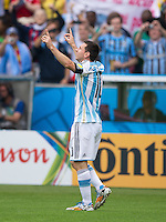 Lionel Messi of Argentina celebrates scoring a goal after making it 1-0