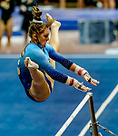 February 19, 2021: Long Island University's Izzy Hilliard competes on the uneven bars during the 2nd Annual George McGinty Alumni Meet at the SECU Arena at Towson University in Towson, Maryland. Scott Serio/Eclipse Sportswire/CSM