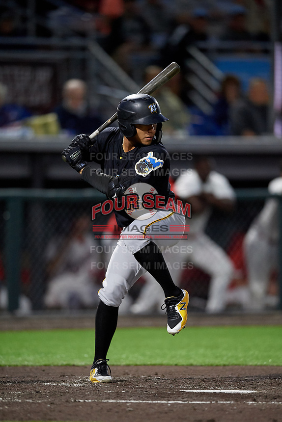 West Virginia Black Bears Fernando Villegas (25) at bat during a NY-Penn League game against the Auburn Doubledays on August 23, 2019 at Falcon Park in Auburn, New York.  West Virginia defeated Auburn 6-5, the second game of a doubleheader.  (Mike Janes/Four Seam Images)