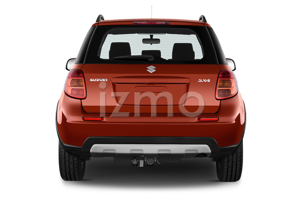 Straight rear view of a 2013 Suzuki SX4 Grand Luxe Exterior 5 Door SUV 2WD Rear View  stock images