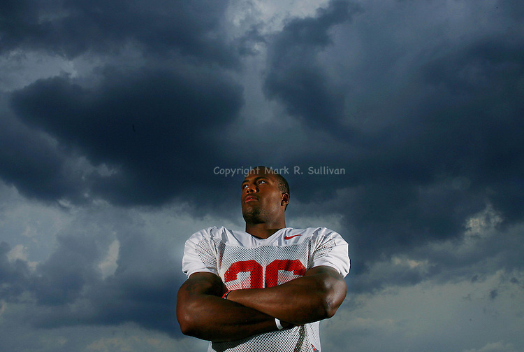 Rutgers football player Courtney Greene, poses for a photograph outside of the Hale Center in Piscataway..ON THURS AUG 14,2008.<br /> (MARK R. SULLIVAN)