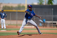 Texas Rangers pitcher Reiver Sanmartin (70) delivers a pitch to the plate during an Instructional League game against the San Diego Padres on September 20, 2017 at Peoria Sports Complex in Peoria, Arizona. (Zachary Lucy/Four Seam Images)