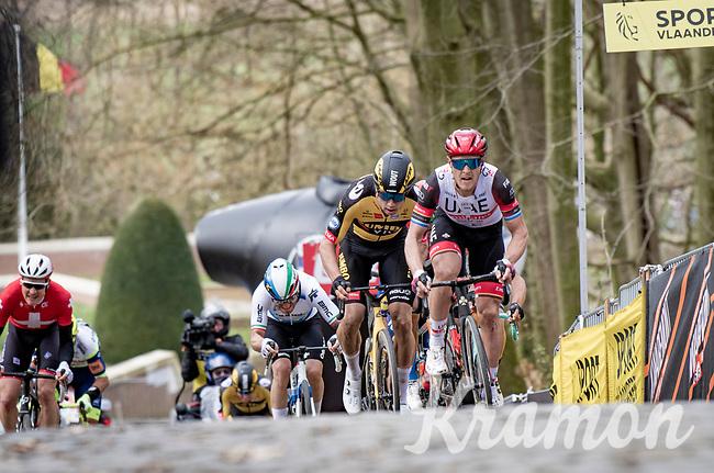 Matteo Trentin (ITA/UAE-Emirates) & Wout van Aert (BEL/Jumbo-Visma) up the infamous Kemmelberg<br /> <br /> 83rd Gent-Wevelgem - in Flanders Fields (ME - 1.UWT)<br /> 1 day race from Ieper to Wevelgem (BEL): 254km<br /> <br /> ©kramon