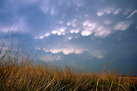 Mammatus clouds brood over native tallgrass prairie near Memphis Texas in May.