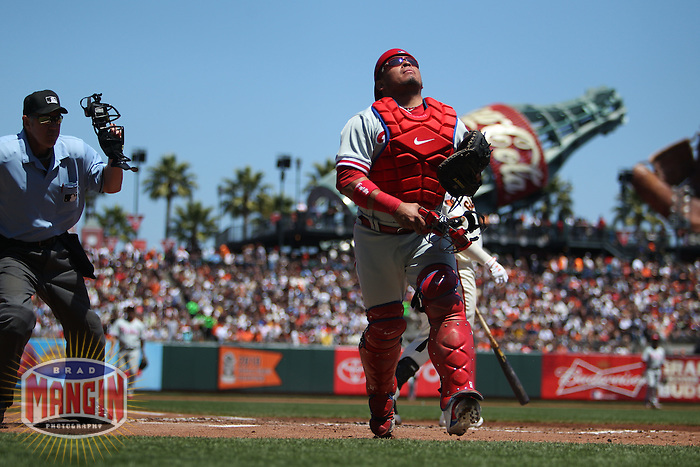 SAN FRANCISCO, CA - AUGUST 6:  Carlos Ruiz of the Philadelphia Phillies chases a foul pop up against the San Francisco Giants during the game at AT&T Park on August 6, 2011 in San Francisco, California. Photo by Brad Mangin