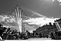 Cycling: 101th Tour de France / Stage 1 <br /> Illustration Illustratie / Peleton Peloton / Domaine De Harewood House / Aircraft show Plane Avion Vliegtuig / Landscape Paysage Landschap / <br /> Leeds - Harrogate (190,5Km)/ <br /> Ronde van Frankrijk TDF Etape Rit (c) Tim De Waele COPYRIGHT WARNING : THIS IMAGE IS RIGHTS MANAGED AND THE COPYRIGHT MAY SIT WITH A THIRD PARTY PLEASE CONTACT simon@swpix.com BEFORE DOWNLOAD AND OR USE