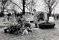 1990 FILE PHOTO - ARCHIVES -<br /> <br /> Private moment: Bill Ballard, son of the late Leafs' owner Harold Ballard, stands alone by his dad's grave yesterday after the will was read. The will gives most of Ballard's fortune to charity.<br /> <br /> 1990<br /> <br /> PHOTO :  Erin Comb - Toronto Star Archives - AQP