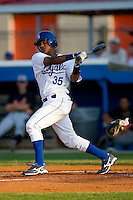 Victor Soto #35 of the Burlington Royals follows through on his swing versus the Bluefield Orioles at Burlington Athletic Park June 30, 2009 in Burlington, North Carolina. (Photo by Brian Westerholt / Four Seam Images)