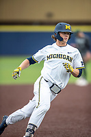 Michigan Wolverines outfielder Jesse Franklin (7) jogs around third base after hitting a home run during the NCAA baseball game against the Michigan State Spartans on May 7, 2019 at Ray Fisher Stadium in Ann Arbor, Michigan. Michigan defeated Michigan State 7-0. (Andrew Woolley/Four Seam Images)