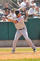 Travis Taijeron (18) of the Binghamton Mets bats during a game against the New Britain Rock Cats at New Britain Stadium on June 1, 2014 in New Britain, Connecticut.  New Britain defeated Binghamton 6-1.   (Gregory Vasil/Four Seam Images)