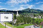 Austria, Vorarlberg, Egg: village view with parish church Saint Nikolaus | Oesterreich, Vorarlberg, Egg: Ortsuebersicht mit Pfarrkirche Hl. Nikolaus