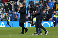 Swansea manager Carlos Carvalhal (L) thanks away supporters during The Emirates FA Cup Fifth Round match between Sheffield Wednesday and Swansea City at Hillsborough, Sheffield, England, UK. Saturday 17 February 2018