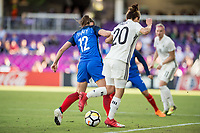 Orlando City, FL - Wednesday March 07, 2018: Gaëtane Thiney, Lina Magull during a 2018 SheBelieves Cup match between the women's national teams of Germany (GER) and France (FRA) at Orlando City Stadium.