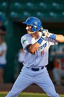 Mitchell Hansen (11) of the Ogden Raptors bats against the Orem Owlz at Lindquist Field on September 10, 2017 in Ogden, Utah. Ogden defeated Orem 9-4. (Stephen Smith/Four Seam Images)