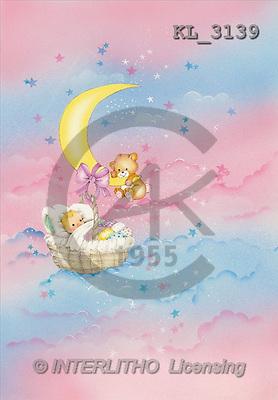 Interlitho, Michele, BABIES, paintings, basket, moon(KL3139,#B#) bébé, illustrations, pinturas ,everyday