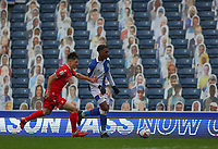 17th October 2020; Ewood Park, Blackburn, Lancashire, England; English Football League Championship Football, Blackburn Rovers versus Nottingham Forest ; Adam Armstrong of Blackburn Rovers takes on Joe Lolley of Nottingham Forest late in the game