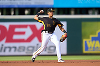Bradenton Marauders infielder Dariel Lopez (52) throws to first base during a game against the Fort Myers Mighty Mussels on May 6, 2021 at LECOM Park in Bradenton, Florida.  (Mike Janes/Four Seam Images)
