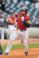 Toledo Mud Hens designated hitter James Loney (5) sprints towards the plate against the Lehigh Valley IronPigs during the International League baseball game on April 30, 2017 at Fifth Third Field in Toledo, Ohio. Toledo defeated Lehigh Valley 6-4. (Andrew Woolley/Four Seam Images)