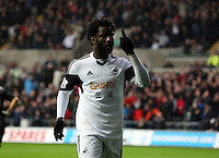 Wednesday, 01 January 2014<br /> Pictured: Wilfried Bony of Swansea celebrating his equaliser, making the score 1-1.<br /> Re: Barclay's Premier League, Swansea City FC v Manchester City at the Liberty Stadium, south Wales.