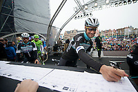 Tripple Ronde winner Tom Boonen (BEL/OPQS) signing in on the start podium in Bruges<br /> <br /> Ronde van Vlaanderen 2014