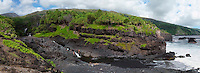 Panorama view of family fun at the seven pools in Kipahulu at the Ohe'o Gulch in HALEAKALA NATIONAL PARK on Maui in Hawaii USA