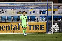 SAN JOSE, CA - OCTOBER 07: JT Marcinkowski #18 of San Jose Earthquakes during a game between Vancouver Whitecaps and San Jose Earthquakes at Earthquakes Stadium on October 07, 2020 in San Jose, California.