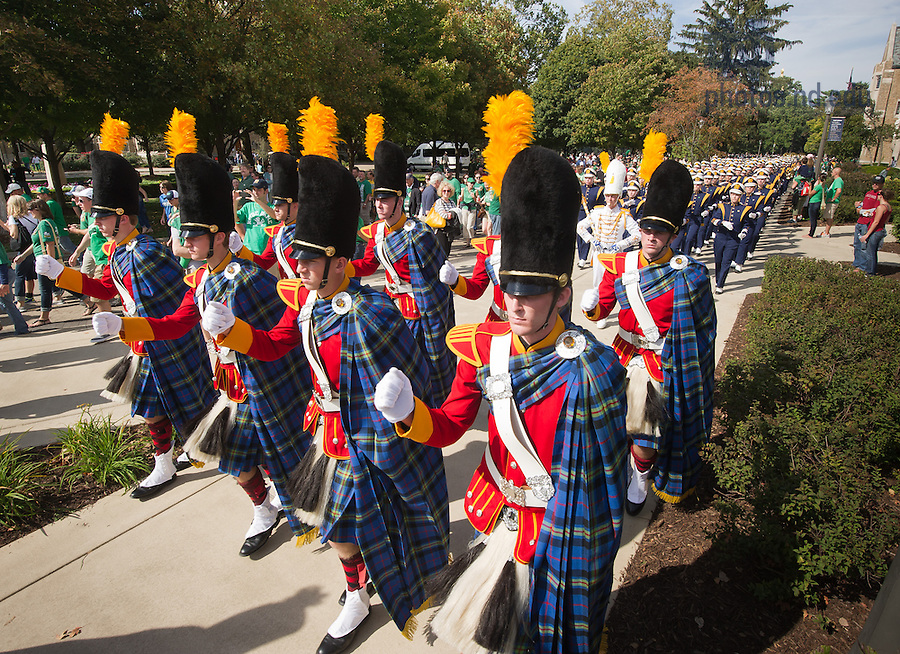 Sept. 28, 2013; The Irish Guard leads the band on game day.<br /> <br /> Photo by Matt Cashore/University of Notre Dame