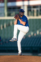 AZL Cubs 1 starting pitcher Peyton Remy (54) delivers a pitch during an Arizona League game against the AZL Cubs 1 at Sloan Park on June 28, 2018 in Mesa, Arizona. The AZL Athletics defeated the AZL Cubs 1 5-4. (Zachary Lucy/Four Seam Images)