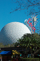 The Spaceship Earth ride in Epcot Center at Walt Disney World Theme Park, Orlando, Florida.